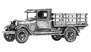 Chevrolet Truck Drawings - Real Work Truck - 1929 Ford Stake Truck by Currie Smith