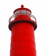 Ann Horn Prints - Really Red Lighthouse Print by Ann Horn