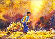 Farmer Drawings - Reaping the Seasons Harvest by Carol Wisniewski