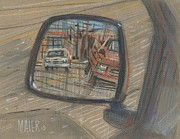 Car Pastels Framed Prints - Rear View Framed Print by Donald Maier