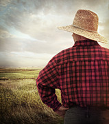Nape Framed Prints - Rear view of a farmer looking at his land Framed Print by Sandra Cunningham