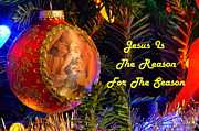 Manger Posters - Reason For The Season Christmas Card Poster by Ronald T Williams