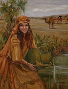 Fine Art  Of Women Paintings - Rebecca at the Well by Judy Crowe