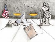 Justice Drawings - Rebirth of Law by Dan Twyman