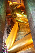Reclining Metal Prints - Reclining Buddha - Wat Pho - Bangkok Thailand - 01132 Metal Print by DC Photographer
