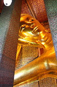 Reclining Metal Prints - Reclining Buddha - Wat Pho - Bangkok Thailand - 01134 Metal Print by DC Photographer