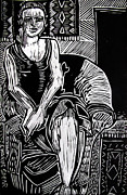 Lino Print Drawings - Reclining by Charlie Spear