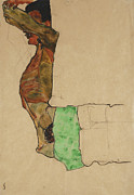 Raised Arms Posters - Reclining Male Nude with Green Cloth Poster by Egon Schiele