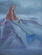 Fantasy Sea Pastels Prints - Reclining Mermaid Print by Julie Brugh Riffey