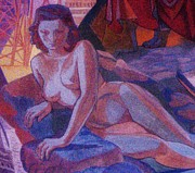 Lesbian Mixed Media - Reclining Nude   Art Deco by Gunter  Hortz