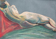 Lounging Drawings Posters - Reclining Nude Back Poster by Asha Carolyn Young