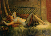 Table Lamp Framed Prints - Reclining Nude Framed Print by Delphin Enjolras