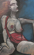 Abstract Purse Paintings - Reclining Nude With Red Purse by Tim Nyberg