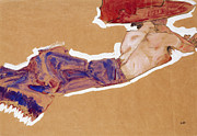 Semi-nude Posters - Reclining Semi-Nude with Red Hat Poster by Egon Schiele
