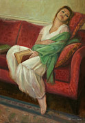 Nightgown Paintings - Reclining with Book by Sarah Parks