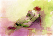 Modern Impressionist Posters - Reclining Woman Magenta Green and Orange Watercolor Painting Poster by Beverly Brown Prints