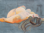 Woman With Long Hair Prints - Reclining Woman with Stuido Stool Print by Asha Carolyn Young