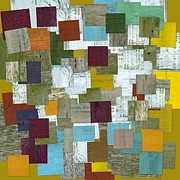 Striped Mixed Media Prints - Reconstructing Fences lll Print by Michelle Calkins