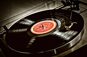 Needle Photo Prints - Record on turntable Print by Elena Elisseeva