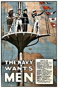 World War One Framed Prints - Recruiting Poster - Britain - Navy Wants Men Framed Print by Benjamin Yeager