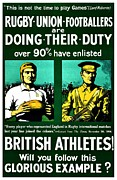 World War One Framed Prints - Recruiting Poster - Britain - Rugby Framed Print by Benjamin Yeager