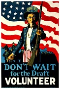 World War One Framed Prints - Recruiting Poster - WW1 - Dont Wait For The Draft Framed Print by Benjamin Yeager