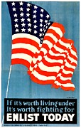 Patriotism Prints - Recruiting Poster - WW1 - Fight For The Flag Print by Benjamin Yeager