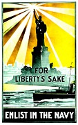 Historic Statue Prints - Recruiting Poster - WW1 - For Libertys Sake Print by Benjamin Yeager