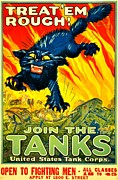 World War One Framed Prints - Recruiting Poster - WW1 - Join The Tank Corps Framed Print by Benjamin Yeager