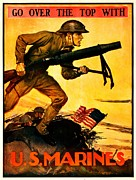 World War One Framed Prints - Recruiting Poster - WW1 - Marines Over The Top Framed Print by Benjamin Yeager
