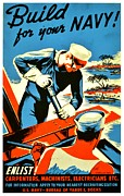 Courage Framed Prints - Recruiting Poster - WW2 - Build Your Navy Framed Print by Benjamin Yeager