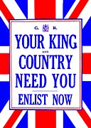 World War One Framed Prints - Recruiting Poster - Britain - King and Country Framed Print by Benjamin Yeager