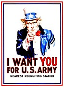 Army Recruiting Prints - Recruiting Poster - WW1 - I Want You Print by Benjamin Yeager