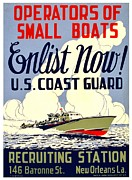 Uscg Framed Prints - Recruiting Poster - WW2 - Coast Guard Framed Print by Benjamin Yeager