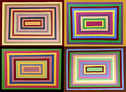 Rectangles Drawings Metal Prints - Rectangular Rainbows Metal Print by Clayton Reynolds