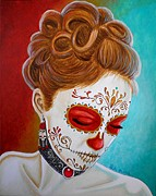Painted Face Prints - Recuerdos de mi Amor Escarlata Print by Al  Molina