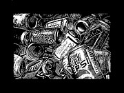 Cans Drawings - Recycle Bin by Jim Harris