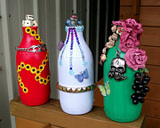 Glass Bottle Glass Art Prints - Recycled Milk Bottles Print by Sandy Wager