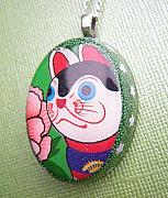 Cat Jewelry - Recycled Rice Candy Box Necklace - Japanese Inu-Hariko Lucky Dog by Razz Ace