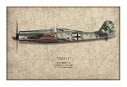Tank Art Prints - Red 1 Focke-Wulf FW-190D - Map Background Print by Craig Tinder