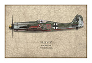 D Digital Art Posters - Red 13 Focke-Wulf FW 190D - Map Background Poster by Craig Tinder