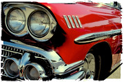 1958 Chevrolet Impala Framed Prints - Red 1958 Chevrolet Impala Framed Print by David Patterson
