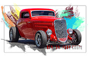 Oldzero Photos - Red 34 Ford Coupe by Steve Benefiel