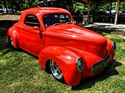 Red Street Rod Prints - Red 41 Willys Coupe 001 Print by Lance Vaughn