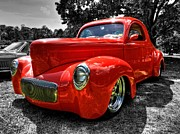 Street Rods Posters - Red 41 Willys Coupe 002 Poster by Lance Vaughn