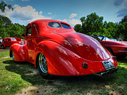 Red Street Rod Prints - Red 41 Willys Coupe 003 Print by Lance Vaughn