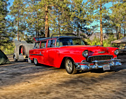 Rally Painting Posters - Red 55 Chevy Wagon Poster by Michael Pickett