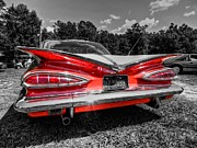 Chevy Posters - Red 59 Impala 002 Poster by Lance Vaughn
