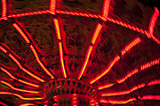 Rides Posters - Red Abstract Carnival Lights Poster by Garry Gay