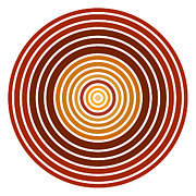 Autumn Prints Prints - Red Abstract Circle Print by Frank Tschakert